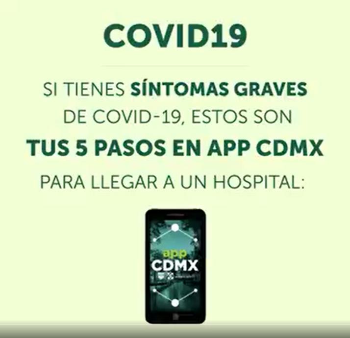 Si tienes síntomas graves de COVID-19, estos son tus 5 pasos en APP CDMX para llegar a un hospital