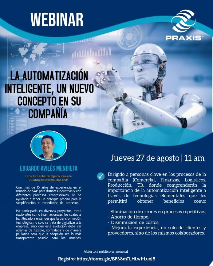 Automatización inteligente, un nuevo concepto en su compañía. 27 de agosto 11:00 am