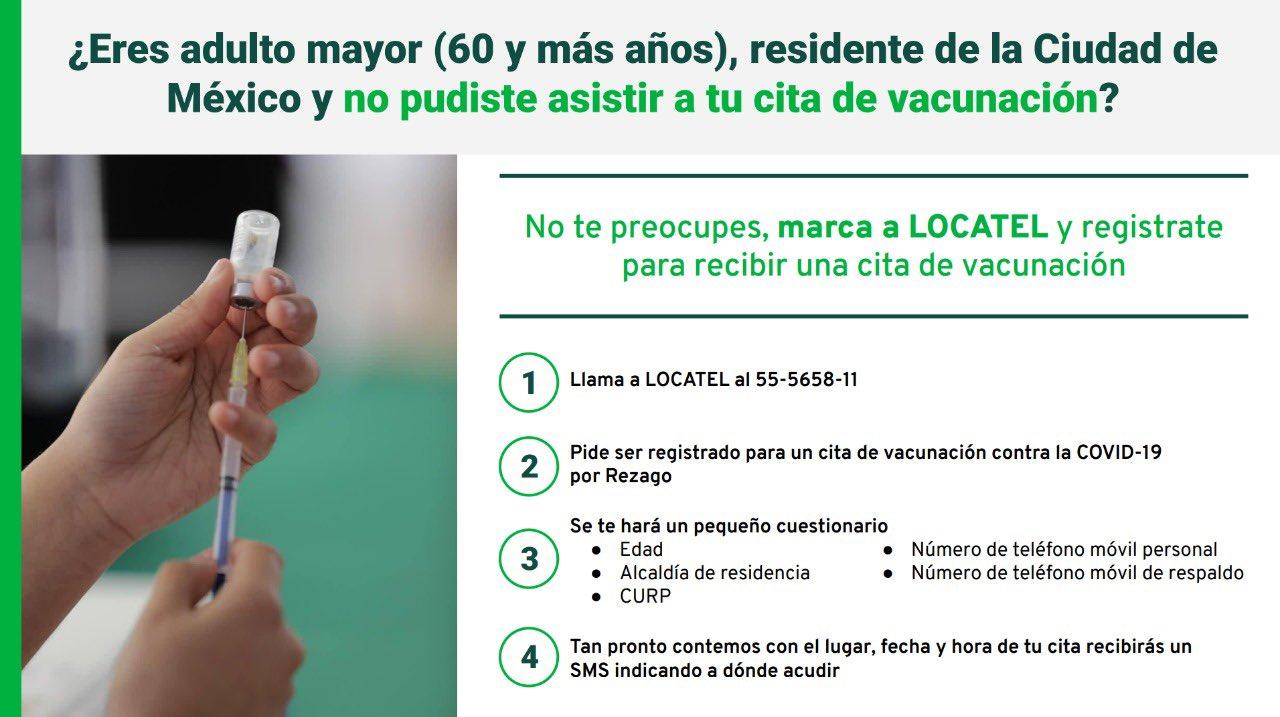 ¿Eres adulto mayor (60 años o más), resides en la Ciudad de México y no pudiste asistir a tu cita de vacunación?