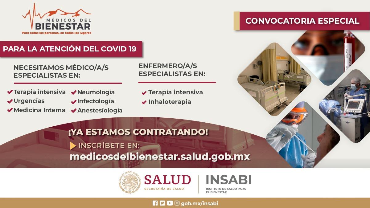 Convocatoria Abierta a Médicos Generales, Especialistas y Enfermeras para conformar el Equipo de Salud del Bienestar