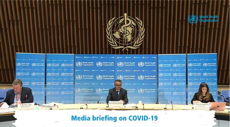 Conferencia de prensa del 22 de abril de 2020, directamente desde la sede de la OMS en Ginebra Suiza.
