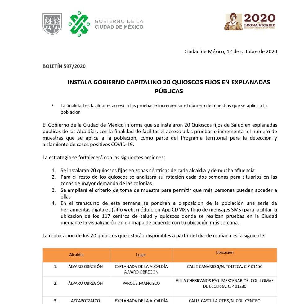 El Gobierno de la Ciudad de México informa: Instalación de 20 quioscos fijos en explanadas públicas.