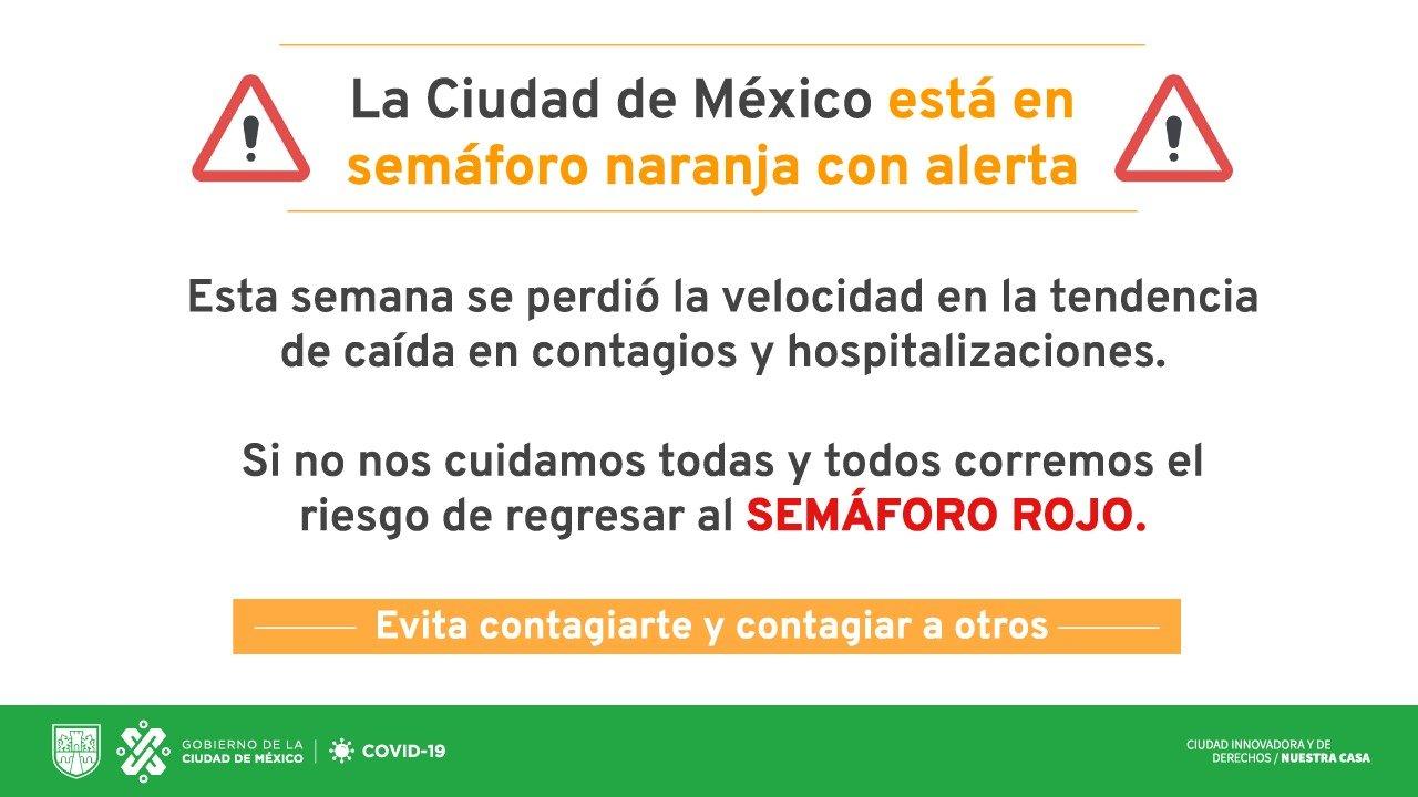La Ciudad de México está en semáforo naranja con alerta